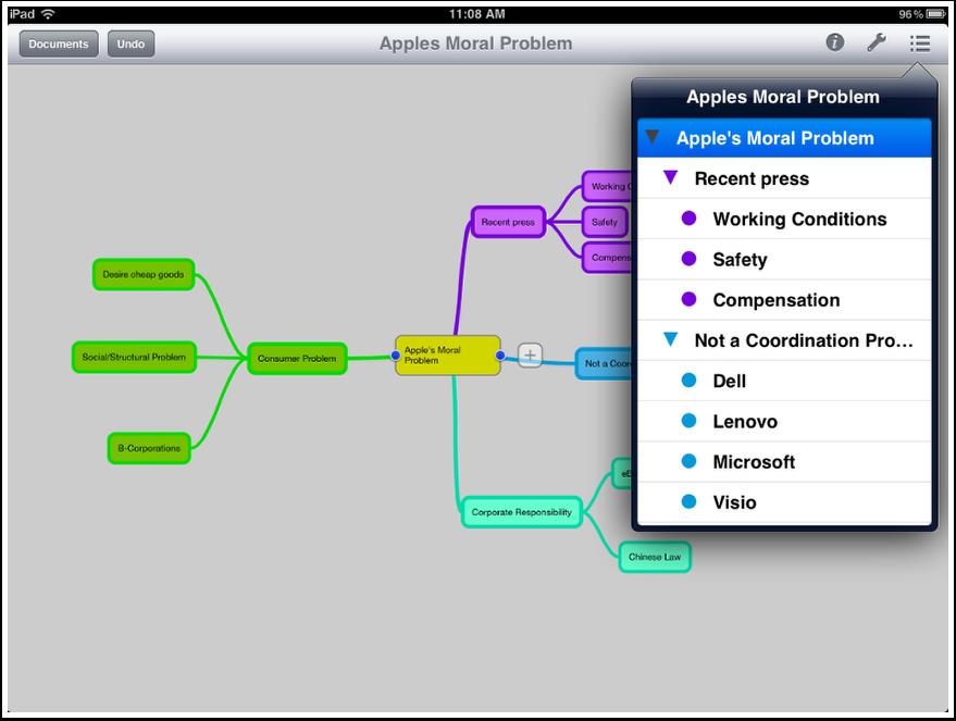 Outline view in MindNode