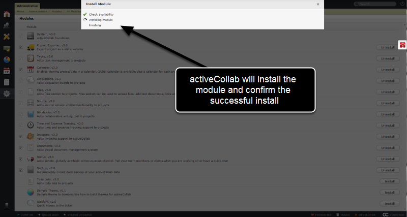 activeCollab will continue the install process