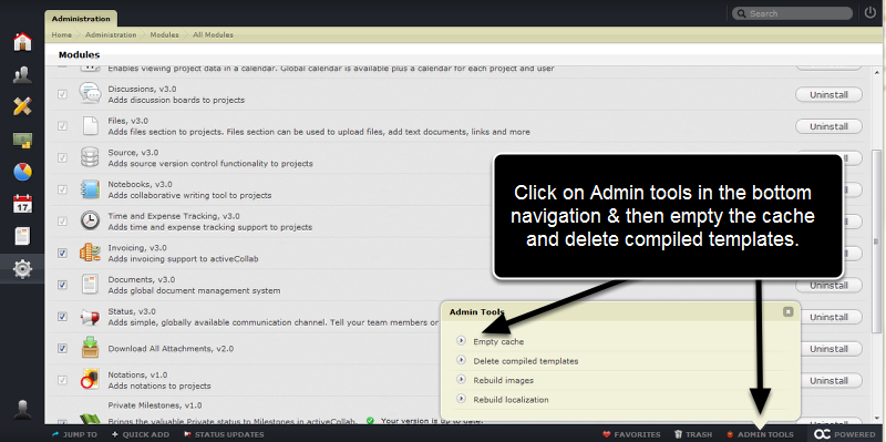 Now a couple steps to save you some headaches!  Clear the AC3 cache and templates using Admin Tools