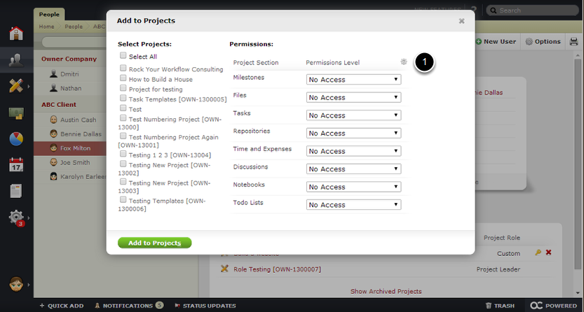Now Add to Projects -  Click Select All or Choose Individual Projects and Set the Permissions