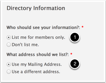 Option I - List me for members only and use my Mailing Address (Default)