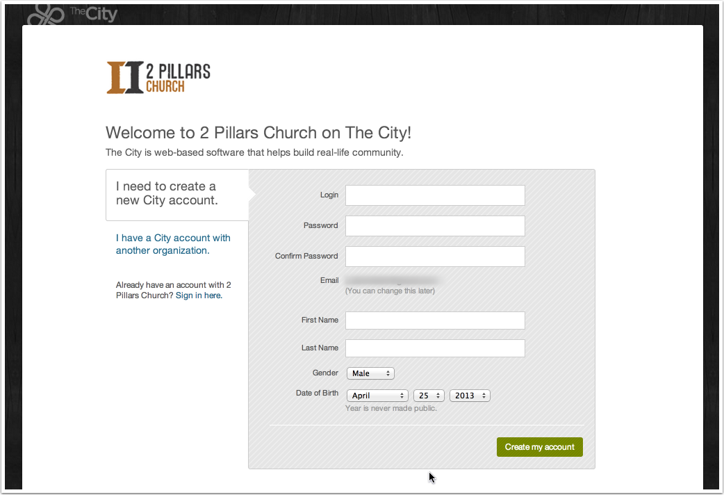 STEP 3: Create Your City Account