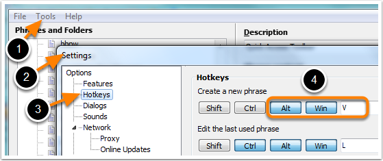 Select a Hotkey for New Phrases