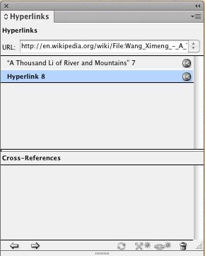 Adobe InDesign hyperlinks panel