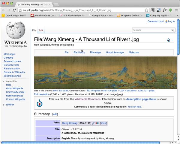 web browser showing url
