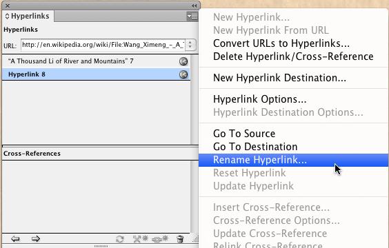 Adobe InDesign rename hyperlink