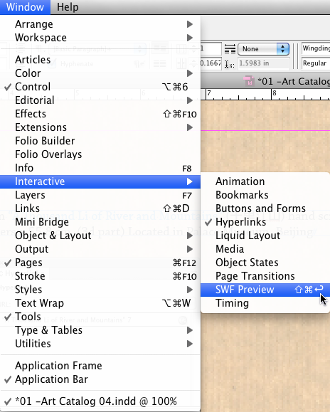 Adobe InDesign swf preview panel