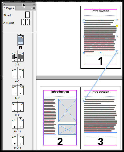 InDesign threaded text frames