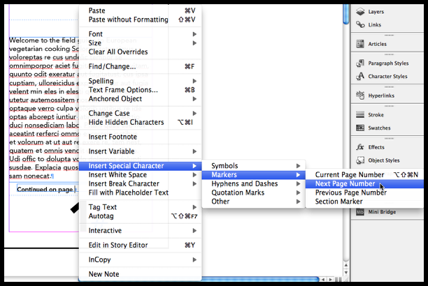 InDesign insert special character insert next page number