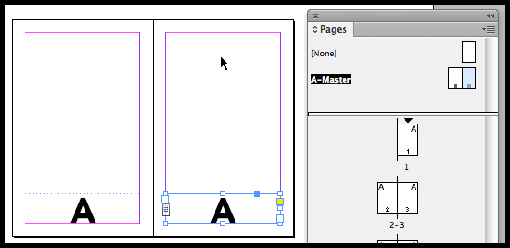 InDesign text frames on master pages