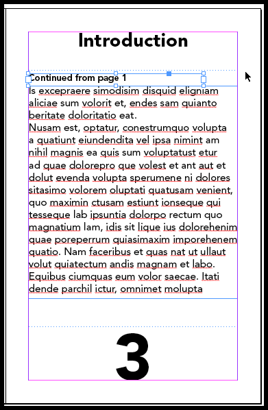 InDesign make sure the text frames are touching