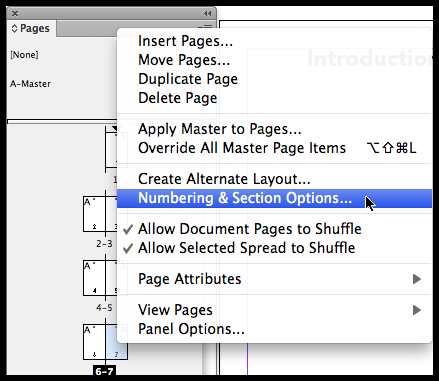 InDesign changing section options in middle of document