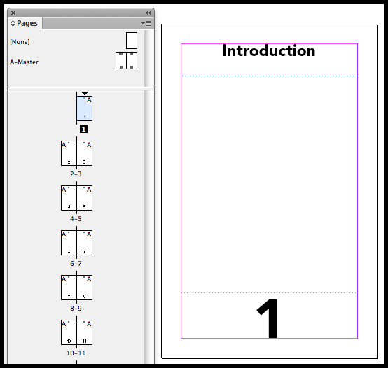 InDesign visible section markers