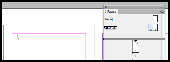 InDesign draw text frame on master page