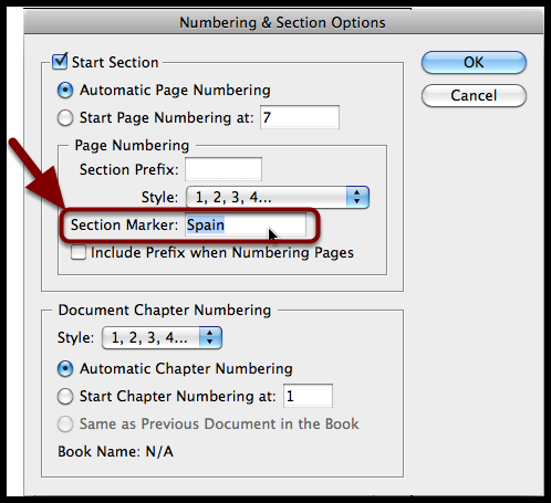 InDesign numbering & section options