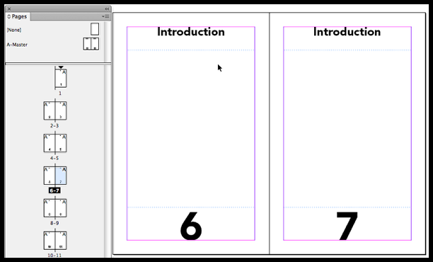 InDesign pages 6 and 7