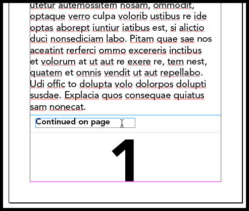 InDesign using the next page marker