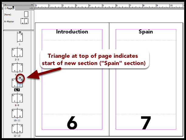 InDesign different sections in document