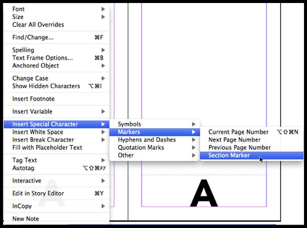 InDesign insert section marker