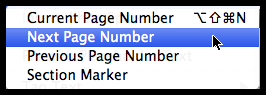 InDesign insert special character markers next page number