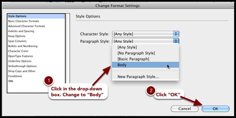 Change Format Settings