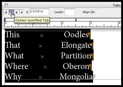 Center-aligned text