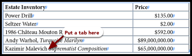 Inserting a tab in a table