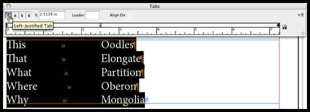 Set tab position