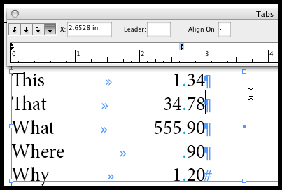 Tabs -aligning numbers by decimal point