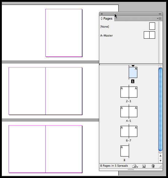 InDesign CS6 - pages palette