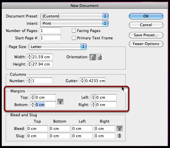 indesign cs6 margins - Margins For Resume