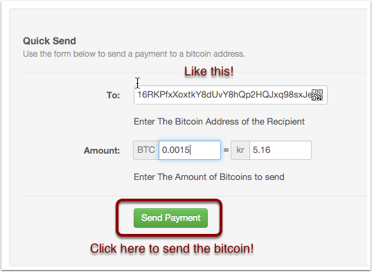Send the BTC