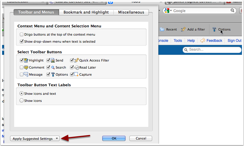 Customize Your Diigo Toolbar and Menus