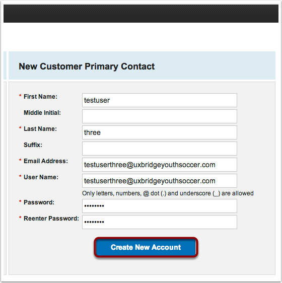 Example of login information filled in