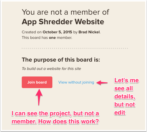 Click on the project I have in as the new member