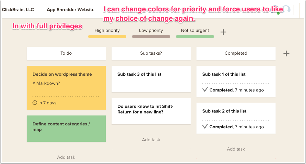 I can change everything about the project as a new user
