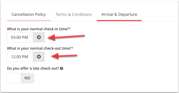 Step 3: Set your check-in and check-out time