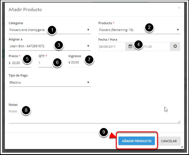 Completa con la información del producto a añadir