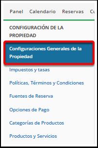 Paso 1: Vaya a configuraciones Generales de la Propiedad