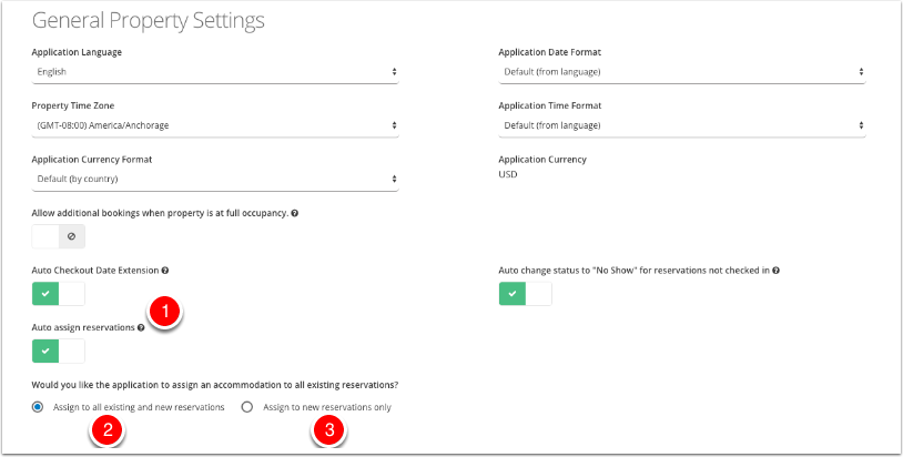 Navigate to General Property Settings - Auto Assign Reservations Radio Button