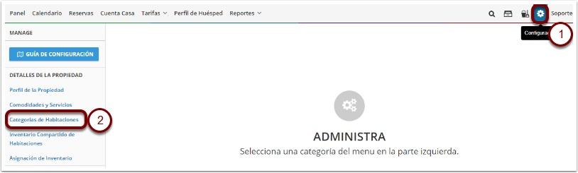 Paso 2: Vaya al icono de configuración de Myfrontdesk - Categorías de Habitaciones