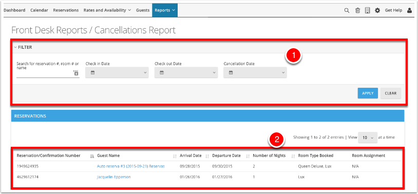 Navigate to Reports - Frontdesk Reports - Cancellations Report