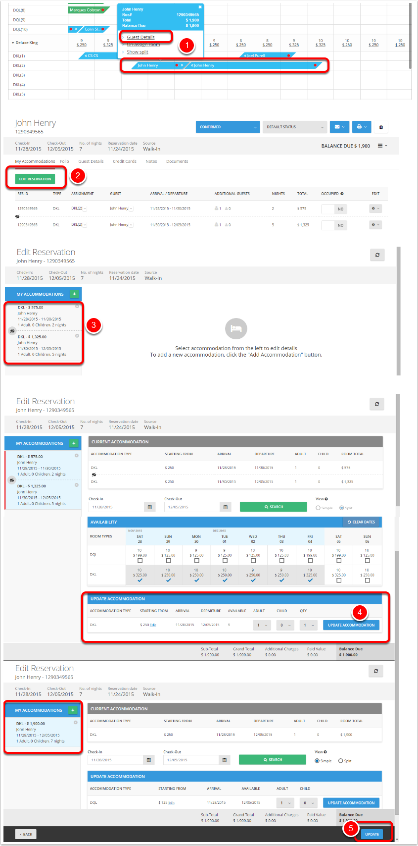 Step 4: Modify accommodations into 1 single reservations -