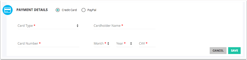 4. Select Credit Card and enter your credit card details