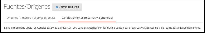 Vaya a la pestaña de Canales Externos (reservas vía agencias)