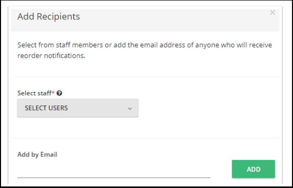 Puedes adicionar cualquier destinatario para recibir una notificación por correo cuando determinando producto alcance su límite. Los destinatarios pueden ser usuarios o cualquier otra dirección de correo electrónico