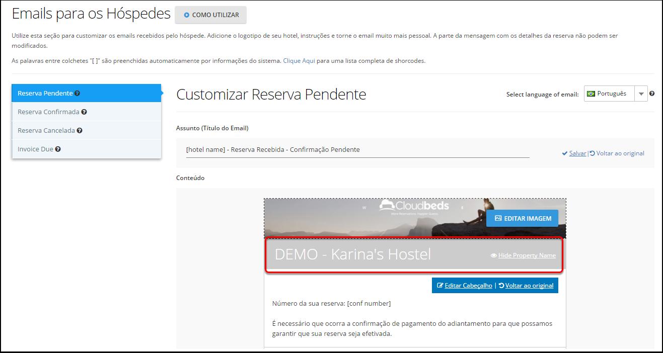 1. Navegue pelas configurações - Customização - E-mails para hóspedes
