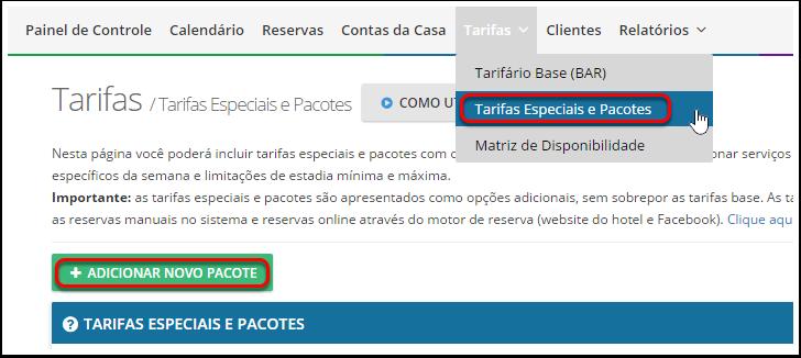 """1- Vá para """"Tarifas"""" > """"Tarifas Especiais e Pacotes"""" e clique no botão """"Adicionar Novo Pacote""""."""