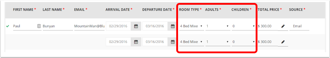 If you are adding a reservation for multiple dorm beds: