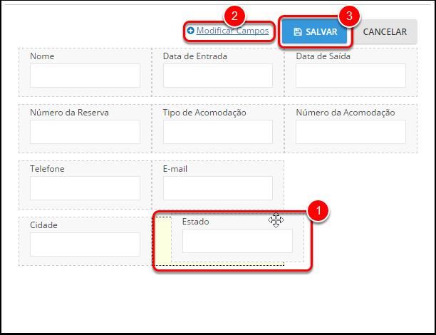A partir daqui você pode arrastar os diferentes campos para reorganizar sua ordem em seu cartão de registro (1) e também modificar os campos que aparecem (2).